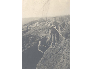 Men of the 22nd Battalion Practise Digging Trenches, East Sanding, England, 1915