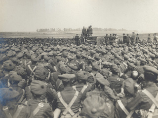 Sir Robert Borden Speaking to a Canadian Brigade During a Visit to the Front