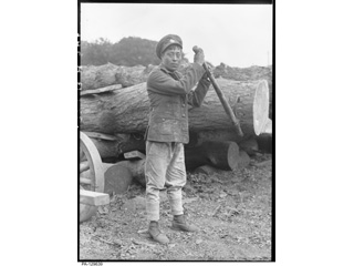 Unidentified North American Indian Serving with the Canadian Forestry Corps in Britain, 1915-1918