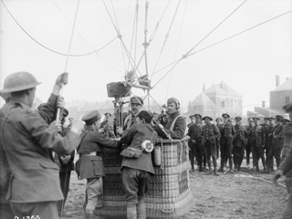 Canadian Official Kinematographer Ready for an Ascent on a Kite Balloon, May, 1917