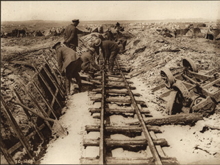 Canadian Soldiers Building a Light Railway, [ca.1918]