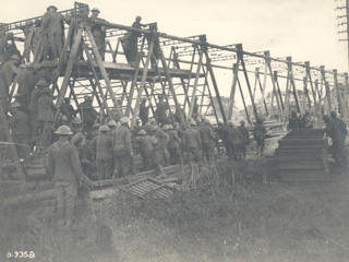 A Bridge is Built on the Scheldt River, 1918