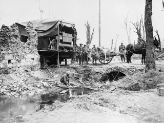 Near Arras, France : Engineers Sterilizing Water Pumped from a Dirty Stream, 1918