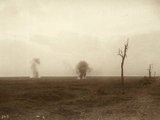 Two Gas Shells Exploding near the Canadian Lines, [ca. 1918].