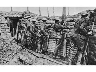 Canadian Infantry in the Trenches Wearing the New Helmet