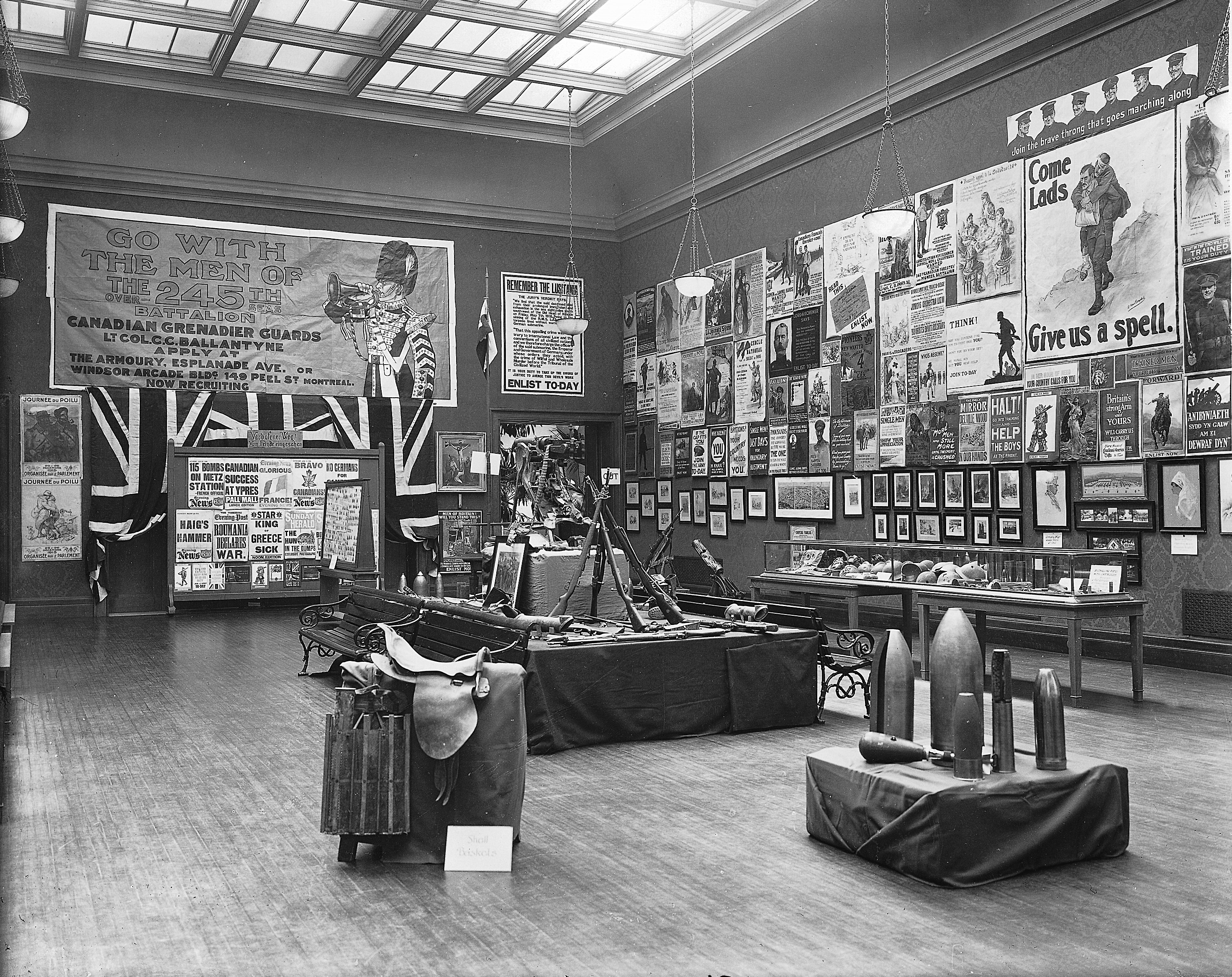 Recruiting Exhibition, Art Gallery?, Montreal, QC, 1916-17.