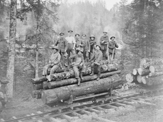 Personnel of the Canadian Forestry Corps Loading Timber, Gerardmer, France. February 1919