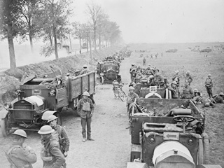 Canadian Motor Machine Gun Brigade Waiting Alongside Arras-Cambrai Road, September, 1918