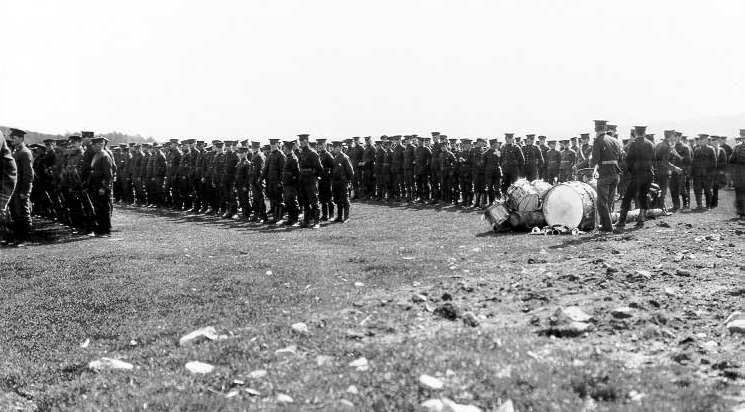 Soldiers Lined up at Valcartier Camp, Quebec, 1914