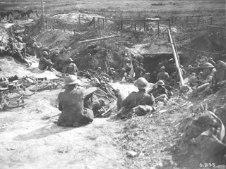 Canadian Cyclists after Having Captured a Trench