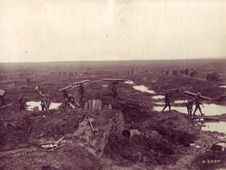 Battlefield Scene with Troops Carrying Small Floorboards