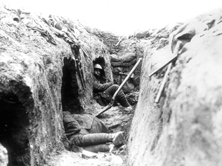 A Trench on the Canadian Front Showing �Funk-holes�, May 1917