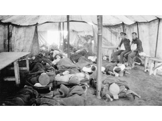 Wounded Soldiers, Probably Canadians, in Admission Area of No. 2 Canadian General Hospital, Le Tr�port, France