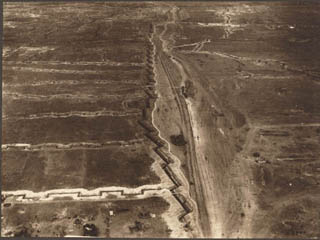 Aerial Photograph of the Defence of a Road as Viewed from a Balloon, [ca. 1918]