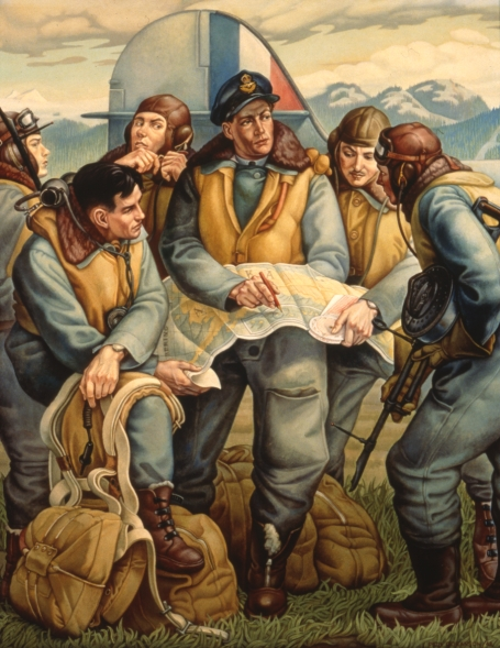 This painting shows six members of the Royal Canadian Air Force in front of the tail of their plane, receiving instructions before leaving on a mission to Kiska Island, visible in the background.