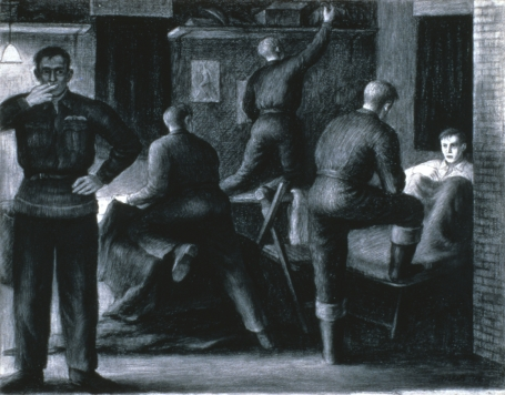 This drawing shows five airmen of the Royal Canadian Air Force in their barrack, each reacting in his own way to the news that a comrade hasn't returned from a mission.