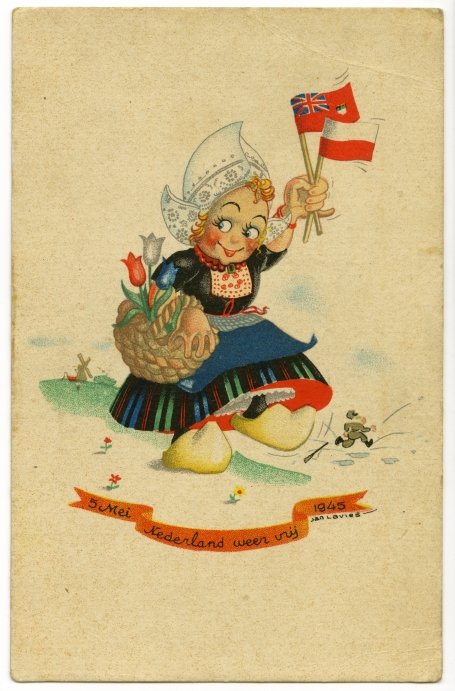 This colour postcard depicts a little girl in traditional Dutch costume, carrying a basket of tulips on one arm and in the other waving the flags of Canada and Poland, the liberators of the Netherlands. Her clogs are about to stamp on a tin