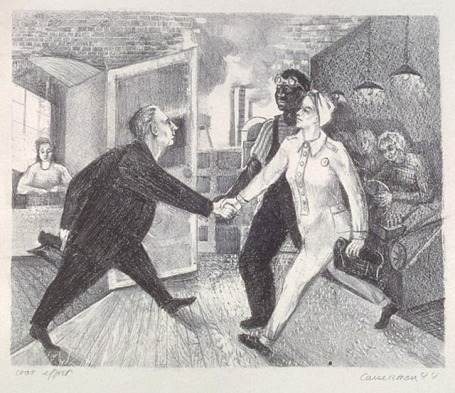 This lithograph depicts a factory interior, where two workers, one female and white, the other male and black, both in work clothes, shake hands with a boss in a suit, coming out of his office.