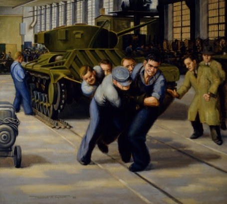 This painting shows five men pulling a tank along rails in a factory.