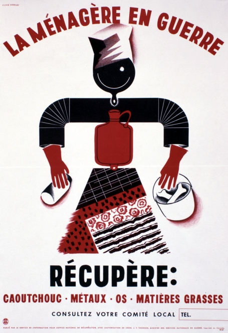 This poster encouraging French Canadian women to keep items for salvage shows a housewife depicted as objects wanted by the war industry: frying pan, pipe, hot water bottle, rubber gloves and other salvage materials.