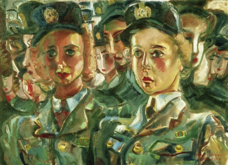 This painting by Pegi Nicol MacLeod represents two young women in Canadian Women's Army Corps uniform in front of a group of colleagues.