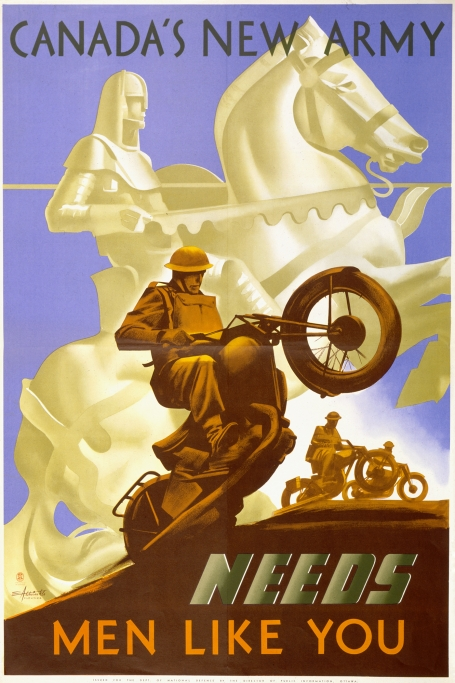 In the background of this recruitment poster is the white silhouette of a horseman on a rearing horse, while in the foreground a soldier is balancing on the rear wheel of a motorcycle.