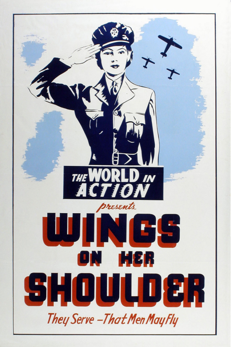 This poster for the 1943 film Wings on Her Shoulder depicts a member of the Women's Division of The Royal Canadian Air Force standing at attention and saluting, with three airborne planes in silhouette in the background.