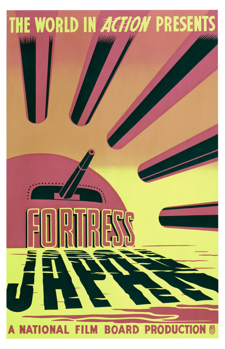 This poster for the 1944 film Fortress Japan represents Japan's rising sun as a circular red bunker surrounded by canons.