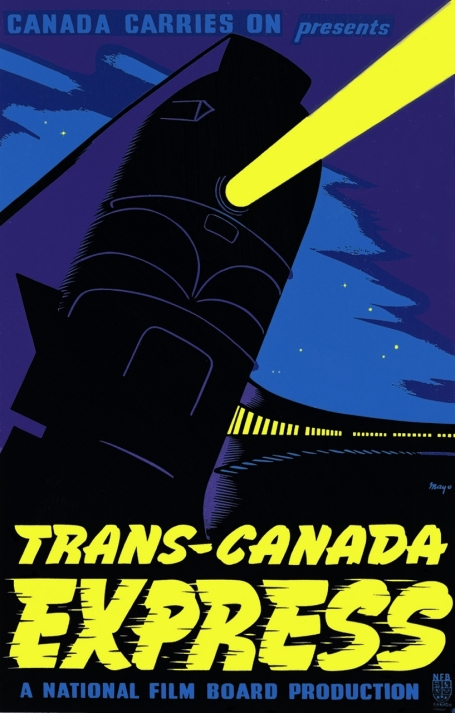 This poster for the 1944 film Trans-Canada Express represents a train advancing at night towards the viewer, with its headlight lighting up a starry sky.