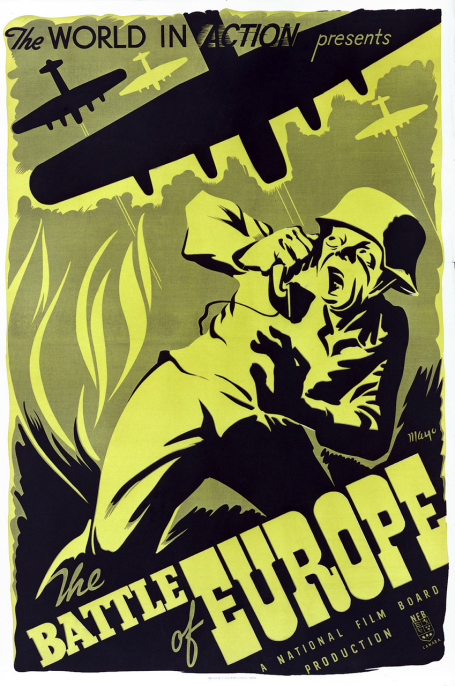 This poster for the 1944 film The Battle of Europe shows a German soldier terrified at the sight of Allied bombers in the sky.