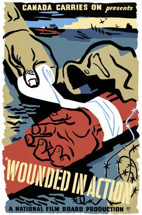 This poster for the 1944 film Wounded in Action is a close-up sketch of a nurse's hand bandaging the wrist of a soldier wounded in action.