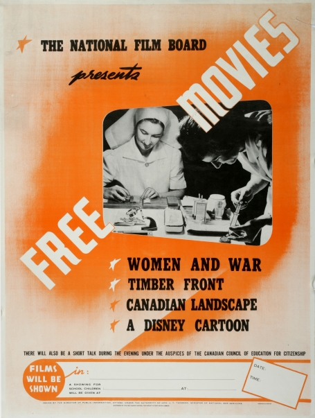 An NFB poster advertising free screenings of three documentaries and a Disney animation. A photo taken from one of these films shows a nurse at work and someone with a syringe.