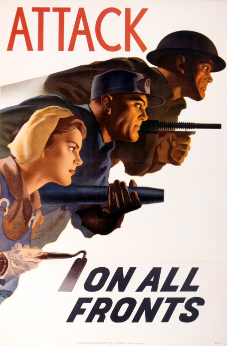 In this production poster, a soldier with a machine gun is placed next to a male worker holding a riveting gun and a woman with a hoe.