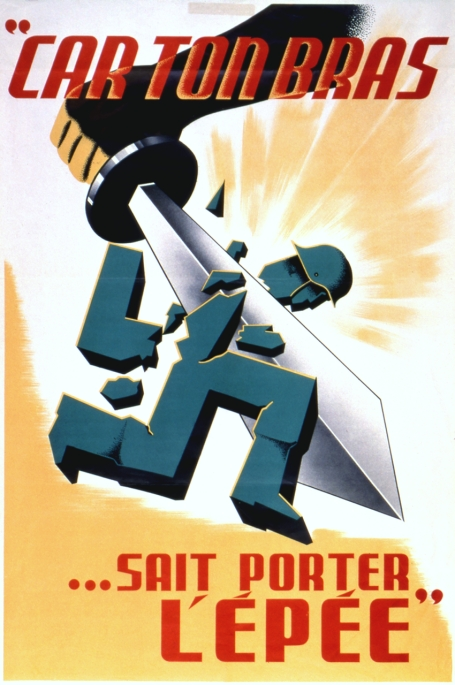 This propaganda poster depicts an arm wielding a sword to cut off the head of a German soldier represented in the shape of a swastika.