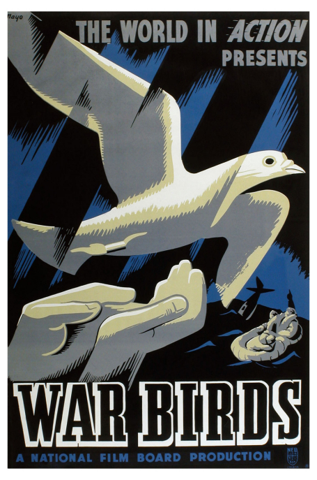 This poster for the 1943 film War Birds shows two hands releasing a carrier pigeon while in the background two airmen in an inflatable dinghy watch their plane sink.