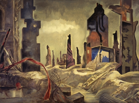 In this painting, debris and ruined buildings in the town of Caen are the result of heavy bombardment.