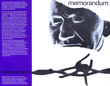 One sheet of the film  Memorandum, showing a piece of barbed wire and a close-up negative of the face of Bernard Laufer.