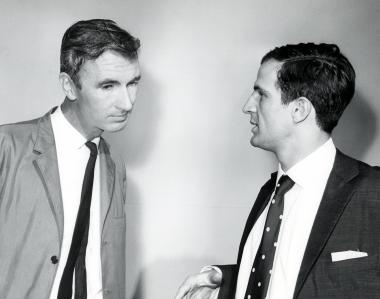 Norman McLaren listens attentively to Fran�ois Truffaut in 1962.