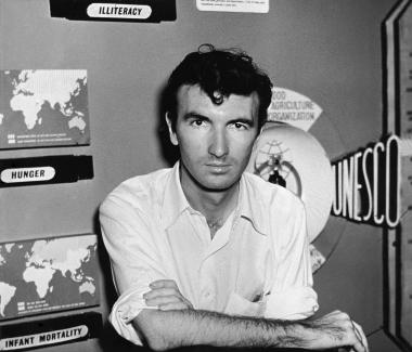 Norman McLaren on his return from China in 1950, at Unesco headquarters in Paris.