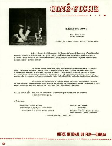 One-sheet for the film Il �tait une chaise, which Norman McLaren and Claude Jutra made in 1957.