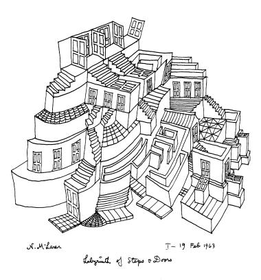 Enlarged reproduction of a Norman McLaren drawing of a labyrinth of doors and stairs with surprising tricks of perspective.