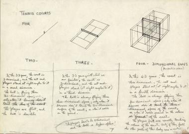 Drawing by Norman McLaren of three tennis courts for playing in two, three or four dimensions.
