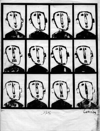 Sequence of 12 drawings by Jan Lenica in black ink illustrating the phrase 