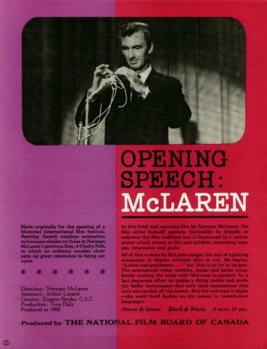 One-sheet for the film Opening Speech: McLaren/Discours de bienvenue de Norman McLaren.