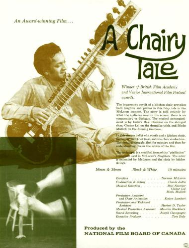 One-sheet for the film A Chairy Tale, which Norman McLaren and Claude Jutra made in 1957.