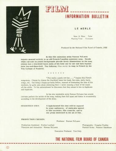One-sheet for the film Le merle, which Norman McLaren made in 1958.