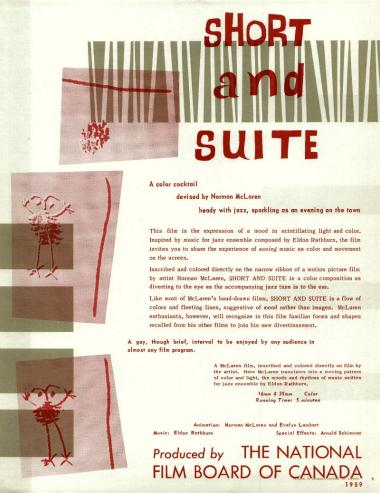 One-sheet for the film Short and Suite, which Norman McLaren made in 1959.