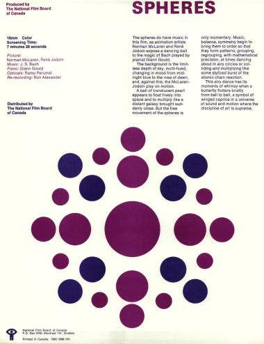 One-sheet for the film Spheres/Sph�res, which Norman McLaren and Ren� Jodoin made in 1969.