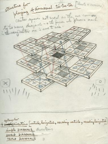 Drawing by Norman McLaren representing a game of tic-tac-toe or