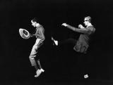 Norman McLaren and Grant Munro rehearse a movement in the third part of the film Canon.